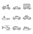 Transport icons simple and thin line vector image vector image
