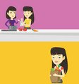 two food and drink banners with space for text vector image vector image