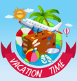 Vacation time with bag and airplane vector image