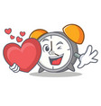 with heart alarm clock mascot cartoon vector image vector image