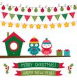 Christmas set with owls vector image