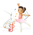 A girl dancing with musical notes vector image vector image