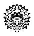 alien head in indian headdress vector image vector image