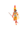 armed tribal male warrior in traditional clothing vector image vector image