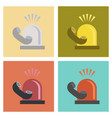 assembly flat icons nature phone alarm lamp vector image vector image