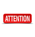 Attention red three-dimensional square button vector image