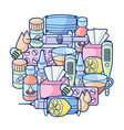 background with medicines and medical objects vector image vector image