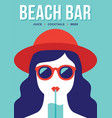 beach bar banner with girl drinking cocktail vector image