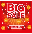 big sale special offer stars bright red background vector image vector image