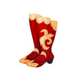 bright red tall boots with gold inserts and high vector image