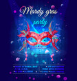 cartoon masquerade party invitation poster vector image