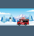 christmas food truck with cheerful santa claus vector image