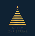 christmas greeting card with golden polygon tree vector image vector image