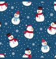 christmas seamless pattern with snowman winter vector image