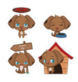 collection of a cute puppy mascot poses vector image vector image