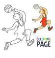 coloring page with volley ball player cartoon vector image vector image