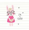 cute bunny girl vector image vector image