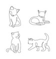 cute cat continuous line drawing elements set vector image