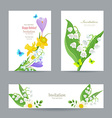 cute invitation cards with fine collection spring vector image vector image
