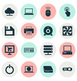 digital icons set with server control device vector image vector image