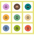flat icons Halloween set of monster head concept vector image vector image