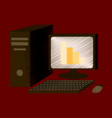 flat shading style icon office computer vector image vector image