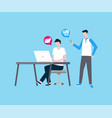 freelancer man working with colleague developers vector image vector image