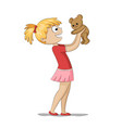 girl is playing with a teddy bear vector image
