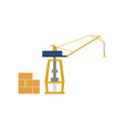 Global shipping icon with sea port crane vector image