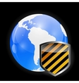 Globe Icon with Protection Shield vector image vector image