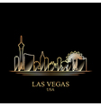gold silhouette las vegas on black background vector image