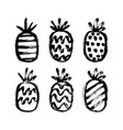 hand drawn pineapples set vector image