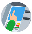 hand inserting credit card into the atm slot vector image vector image