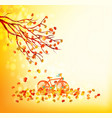hello autumn of a forest in autumn with leaves vector image vector image