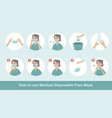 how to wear disposable protective medical mask vector image vector image