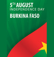 independence day of burkina faso flag and vector image vector image