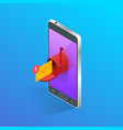 isometric letter and mailbox flying out phone vector image vector image