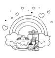 kawaii rainbow and happy birthday design vector image vector image