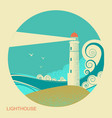 lighthouse label vintage seascape vector image vector image