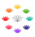 lotus flower colorful icon chakra colors vector image vector image