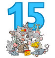 number fifteen and cartoon mice group vector image vector image