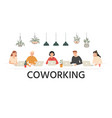 people work together in coworking team work vector image