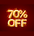 sale 70 off ballon number on red background vector image vector image