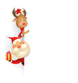 santa claus and reindeer on left side board vector image vector image