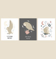 set greeting cards with cute funny owls vector image
