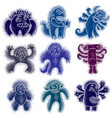 set of cool cartoon monsters colorful weird vector image