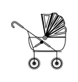 silhouette cute baby carriage with soft top vector image