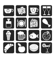 Silhouette Food and beverage icons vector image