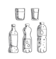 Soda glasses and mineral water bottles sketch vector image vector image
