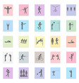 sports set black icon on color sticker vector image vector image